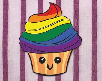 Sticker - LGBT/Gay Pride Cute Rainbow Cupcake! For Indoor or Outdoor Use!