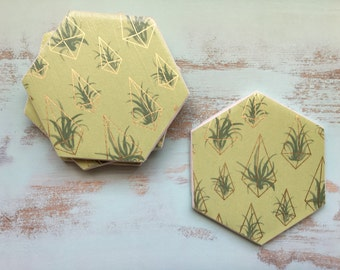 Gold Coasters, Green Coasters, Coasters, Decorative Coasters, Set of 4 Coasters, Tile Coasters, Drink Coasters, Ceramic Coasters