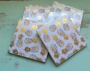 Coasters, Pineapple Coasters, Decorative Coasters, Set of 4 Coasters, Tile Coasters, Drink Coasters, Ceramic Coasters, Tropical Coasters
