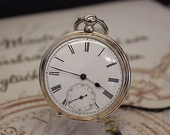 Rare and Unusual Antique Silver Key Wind Pocket Watch