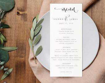 Wedding Menu-Instant Download-Printable Menu-Editable PDF-DIY Menu Template-Digital Calligraphy Template-Printable Wedding Menu-#SN004_M