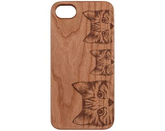 Curious Cats Cherry iPhone X / 8 / 8+ Samsung Note 8 / S8 Real Natural Wood Phone Case - FREE Shipping