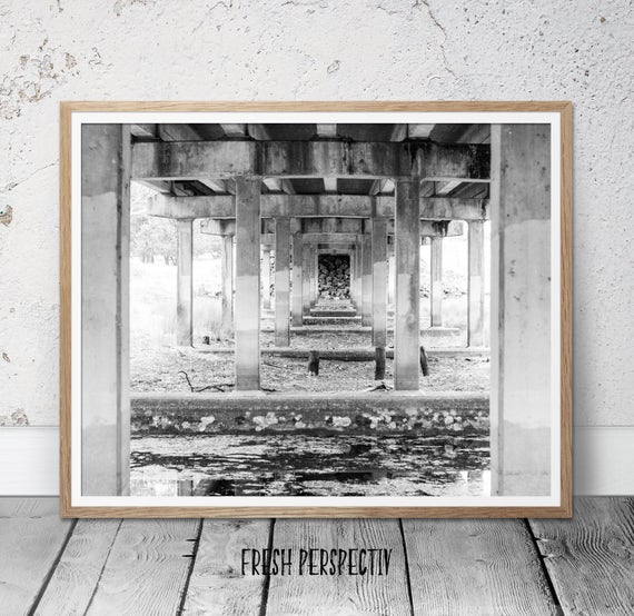 Black and white print, black and white wall art, black and white photography, bridge print, fine art photography, contemporary wall art deco