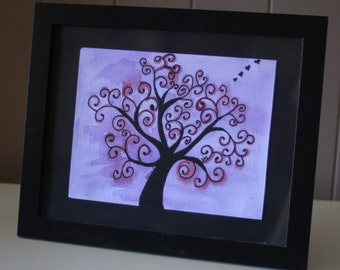 Watercolour background swirly tree of life silhouette (no frame)