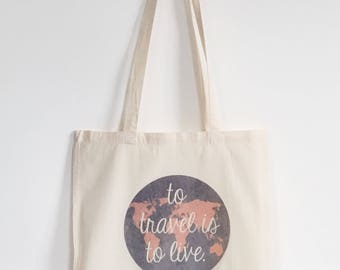 Wanderlust tote bag canvas world globe travel quote