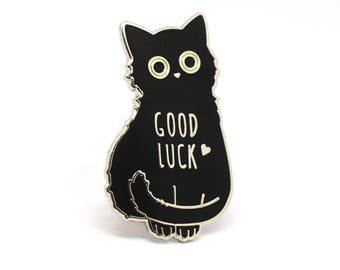Cat enamel pin, Black cat pin, Good luck charm, Good luck cat, Lucky charm, Lucky charm pin, Good luck, Cat lady, Black cats, Cat lover
