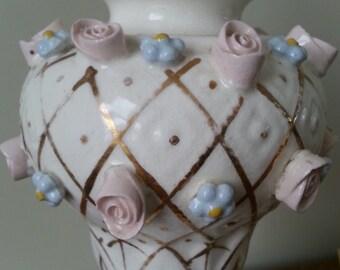 Japan-Delicate Decor Porcelain Vintage Lamp, Embossed Roses and Violets