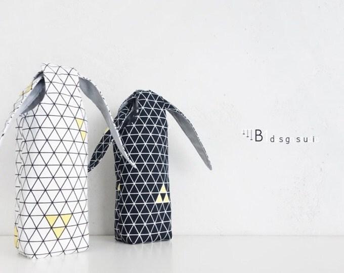 Water Bottle Holder, Water Bottle Bag, Drink Carrier, Canvas Drink Holder, Rabbit Bag, Gift For Her, School Bottle Bag, Handmade
