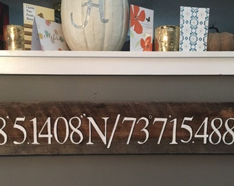 Longitude / Latitude Reclaimed Barn Wood Sign | Geo-coordinates