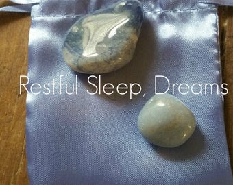 Gemstones to help with Restful Sleep & Dreams, with French Blue Satin Pouch
