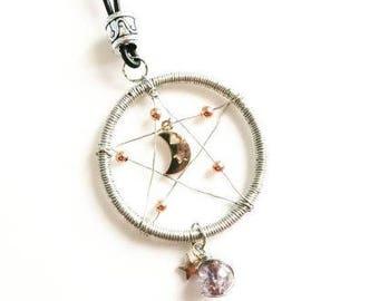 Dreamcatcher necklace, custom adjustable,star, moon