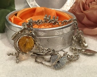 Wonderful Quality Vintage ENGLISH SOLID Sterling Silver CHARM Bracelet-9 Lovely Charms-Made in London 1979-Weighs 41.27 grams