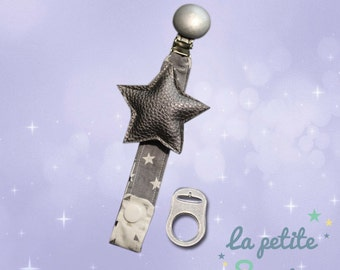 Pacifier clip, door lollipop baby Star Silver leatherette, clip wood and adapter for lollipops silicone ball