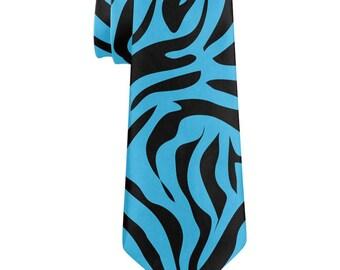 Blue Zebra Stripes All Over Neck Tie