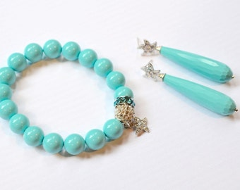 Handmade Cubic Zirconia CZ Starfish & Turquoise Bracelet and Earrings Set (Sparkle-2639)