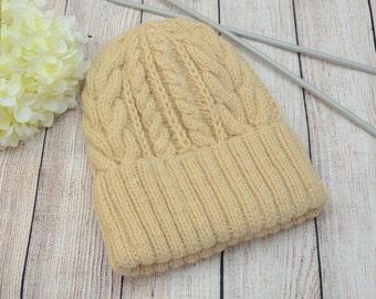 Winter Knit hat Beige women's hat Cable knit hat Ready to ship wool hat Warm Handmade hat Beige winter hat Women's winter accessories