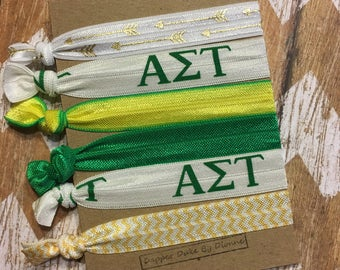 AST is the place to be!! Alpha Sigma Tau Set of 6 Elastics - Great gift for Bid Week! Go Green Go Gold