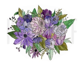 Watercolor Floral | Purple | Domestic Violence Awareness | All Proceeds to DV Shelter | Digital Download | Instant Download
