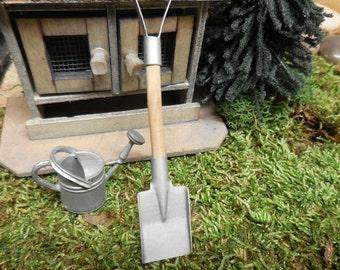 Fairy Garden Tools, Miniature Galvanized Shovel for Fairy Gardens, Terrariums, Zen Gardens, Realistic Dioramas, Kinetic Sand, and Dollhouses