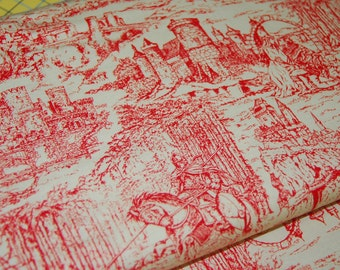 Knights Fabric Game of Thrones Inspired Camelot Fabric Red on Cream Through the Ages - CT118460 100 Percent Cotton Yardage