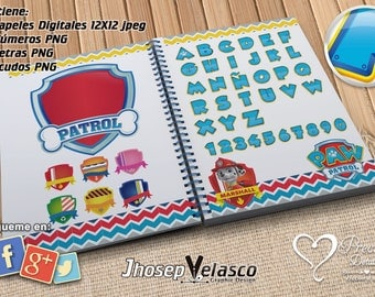 Super Pack patrol canine alphabet + number + digital papers and 30 PNG Extras
