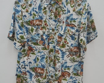 Rockmount Ranch Wear Shirt Vintage Rockmount Tru-West Made in USA All Over Print 100% Cotton Button Down Western Shirt Size M