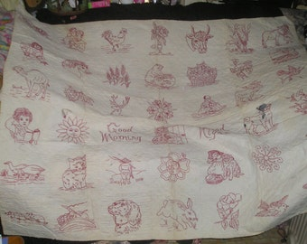 Handmade Hand Quilted Victorian era Redwork Embroidered childs Quilt  1800's
