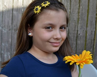 Newborn Headband,Mini Sunflower baby headband, Christening Headband, Girl Headbands,Yellow Flower Headband,Baby Girl headband,Baby Hair Bows