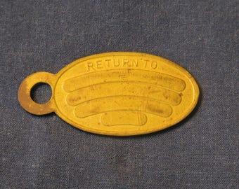 Rare! Mid 1800's Solid Brass Soldier's Baggage Tag Dog Tag Return to FOB Keychain Tag Key chain FOB Trunk ID Tag Civil War Era