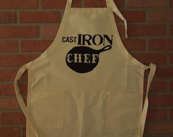 Chef's Apron, Cast Iron Chef Apron, Cast Iron Collector Apron, Cast Iron Pan, Kitchen Apron