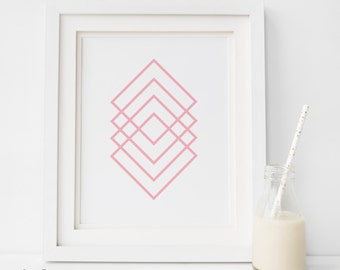 Pink NURSERY DECOR, pink print,Pink Nursery Art, geometric Wall Art, Baby Girl Decor, Pink Wall Prints, Girl Nursery Art, Newborn Wall Decor