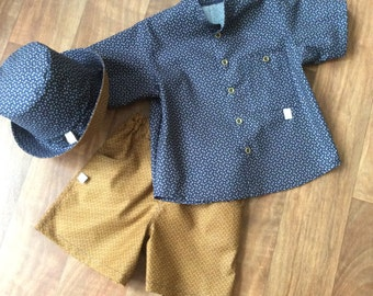 Boys Mustard 'Bits & Bobs' shorts. Complete boys outfit available.