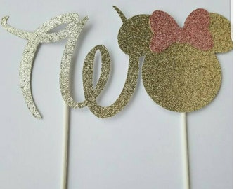 Pink and gold Minnie cake topper