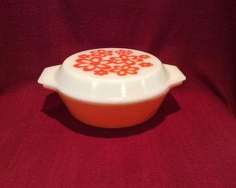Pyrex JAJ 2001 Orange 2 pint Casserole Dish 1970's