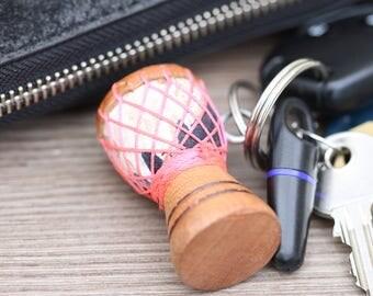 African Drum keychain with Pink string design