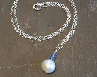 Contemporary Pearl necklace, sterling silver chain, white pearl and lilac Tanzanite gemstone beads, bridal, organic gift