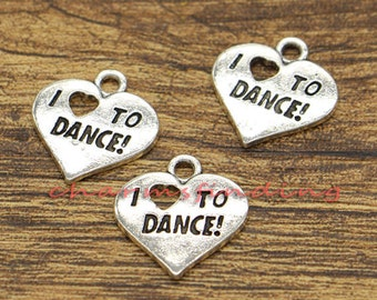 20pcs I love to Dance Charm Heart Charms Antique Silver Tone 18x18mm cf1171