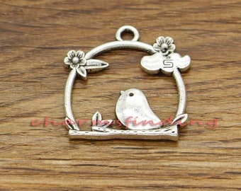 15pcs Birdcage Charm Pendant Sparrow or Swallow Bird Charms Antique Silver Tone Charms 25x26mm cf0622