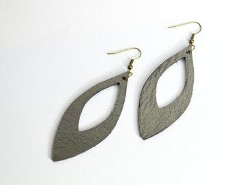 Metallic Mica Gray Leather Cutout Earrings:  Lightweight Leather Leaf Earrings