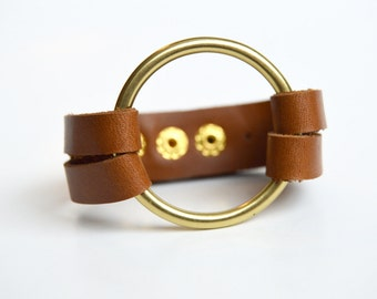 Leather Cuff With Large Brass Ring: Cognac Brown Double Strap Leather Cuff Bracelet With Large Brass Ring
