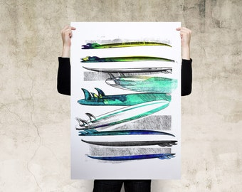 Watercolor Surfing Boards Art Print