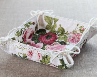 Linen Bread Basket With Lace, Bread Serving Basket With Flowers, Muffin Basket, Bakery Basket, Linen Basket For Bread, Fruit Basket