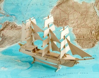 Clipper Sailing Ship 3D Nautical Wooden Toy Puzzle