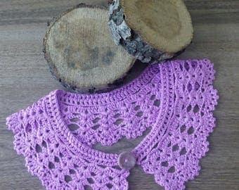 Detachable lace COLLAR, Crochet yarn necklace, wedding collar, Peter Pen collar