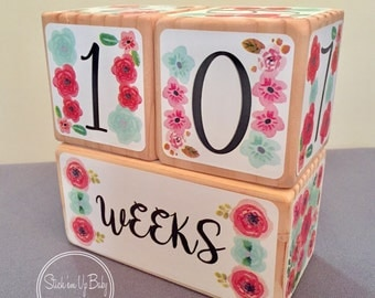 Baby Age Blocks - Baby Milestone Blocks - Pink - Aqua - Flowers - Baby Girl Gift - Pregnancy Photo Prop - Children's Photo Prop - Newborn