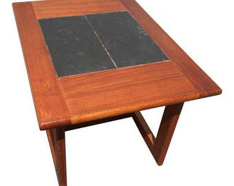 Interform Danish Modern Teak & Slate Side Table.  Mid century modern, made in denmark nightstand coffee end table