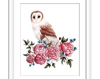 Art Print of Original Watercolor | Owl Flowers | Home Decor