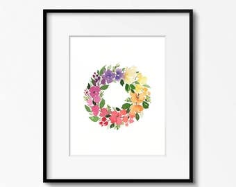 Rainbow Wreath 11x14 Original Watercolor