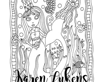 Mermaid Princess, 1 Adult Coloring Book Page, Printable Instant Download