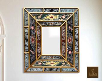 "Colonial Medallion Mirror (eglomise) - Dark Green Color Combination - 15.4"" x 13.4"""